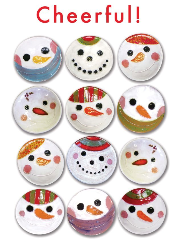 "Nancy Hopkins lil snowmen ""madge"" dishes"