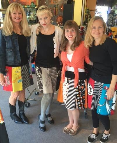All of the cool chicks wearing BJ McHugh skirts!