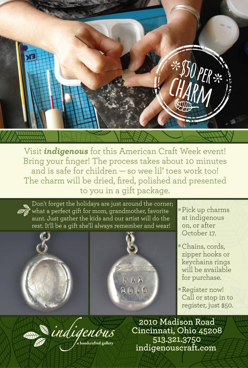 Register now to make a silver fingerprint pendant on October 10th!