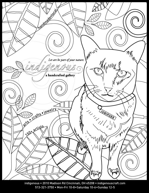 Junipurr is featured on our coloring book page for the Owl _ Squirrel